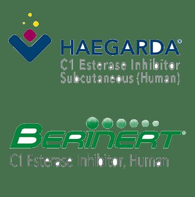 Logos for Haegarda on top of logo for Berinert