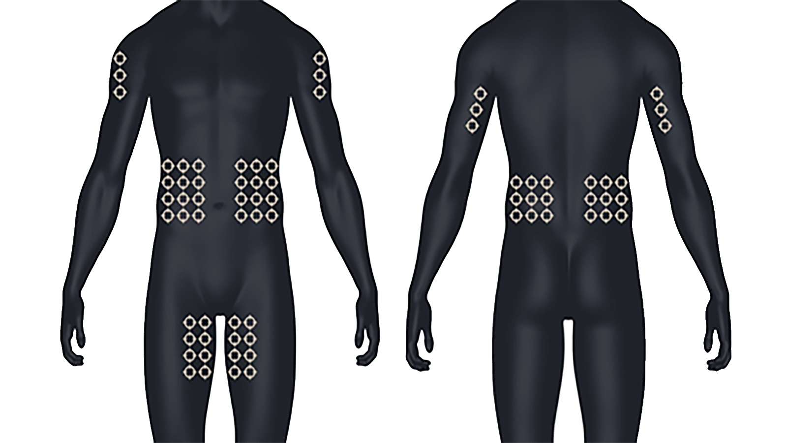 Image of front and back male human anatomy to demonstrate possible administration sites